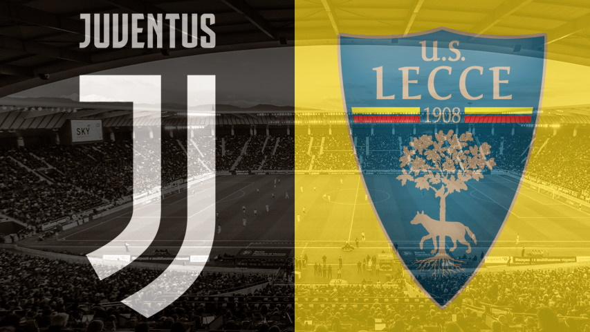 Club crests for Juventus and Lecce as part of a preview of their fixture on June 26