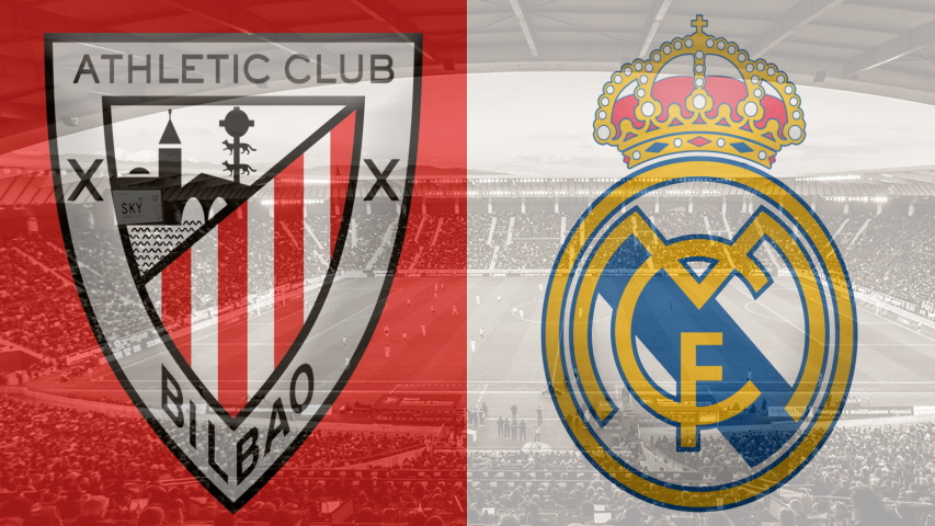 Athletic Bilbao and Real Madrid club crests as a preview of their La Liga fixture on July 5