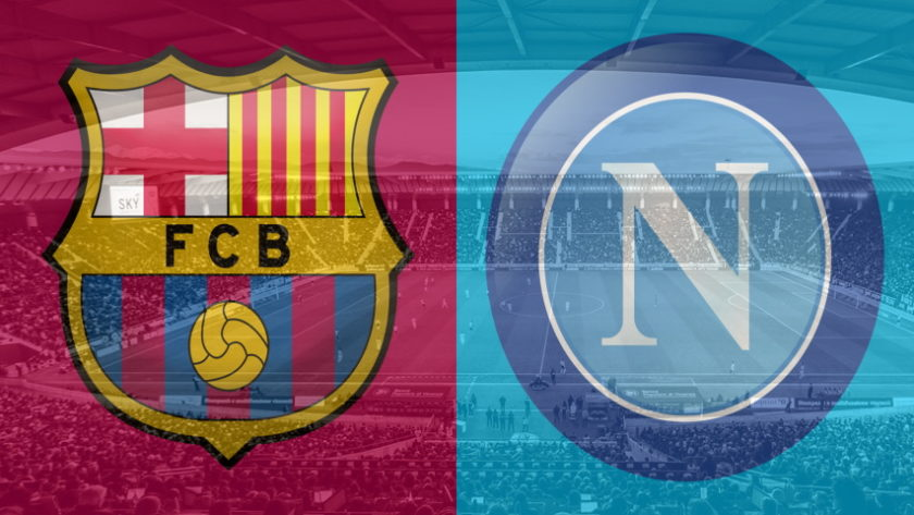 Barcelona and Napoli club crests