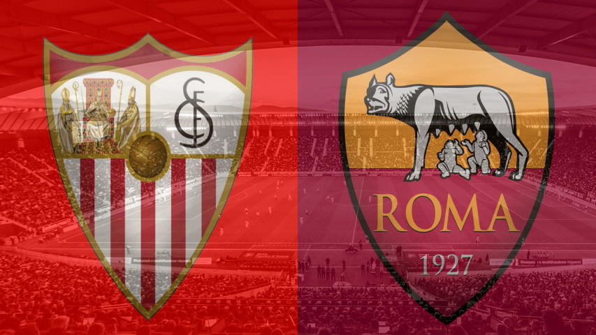 Sevilla and Roma club crests