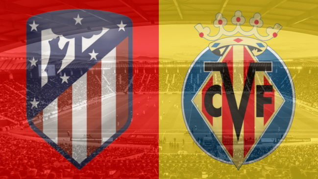 Atletico Madrid and Villarreal club crests ahead of their La Liga fixture on October 4