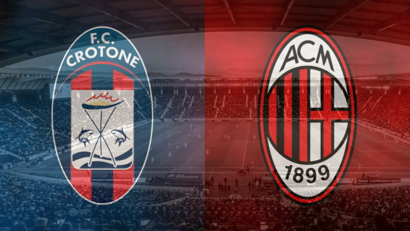 Crotone and Milan club crests ahead of their Serie A fixture on September 27