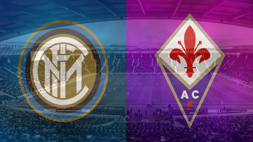 Inter and Fiorentina club crests ahead of their Serie A fixture on September 26