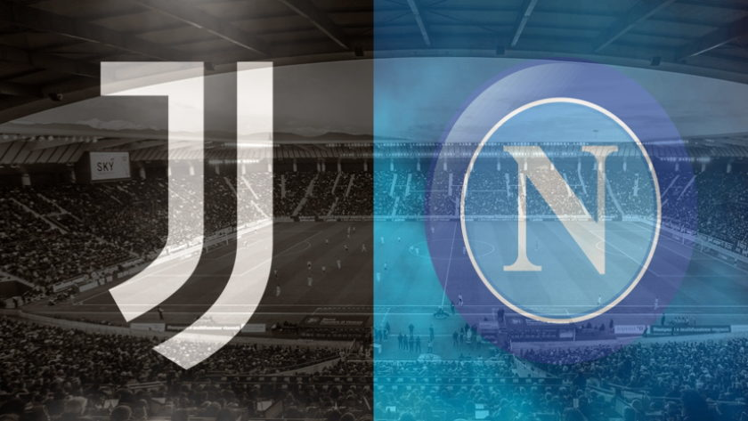 Juventus and Napoli club crests ahead of their Serie A fixture on October