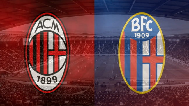Milan and Bologna club crests ahead of their Serie A meeting on September 21