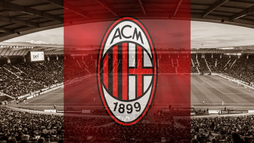 Milan club crest ahead of their Europa League fixture with Shamrock Rovers