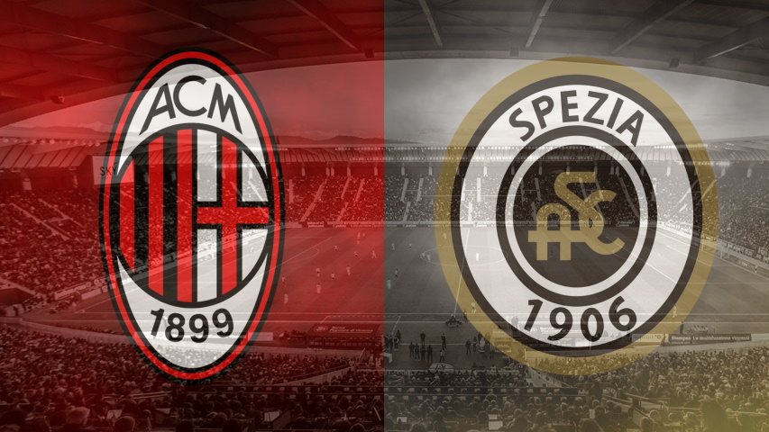 Milan and Spezia club crests ahead of their Serie A fixture on October 4