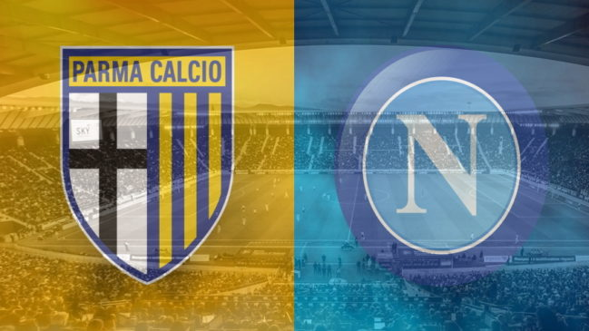 Parma and Napoli club crests ahead of their Serie A fixture on September 20