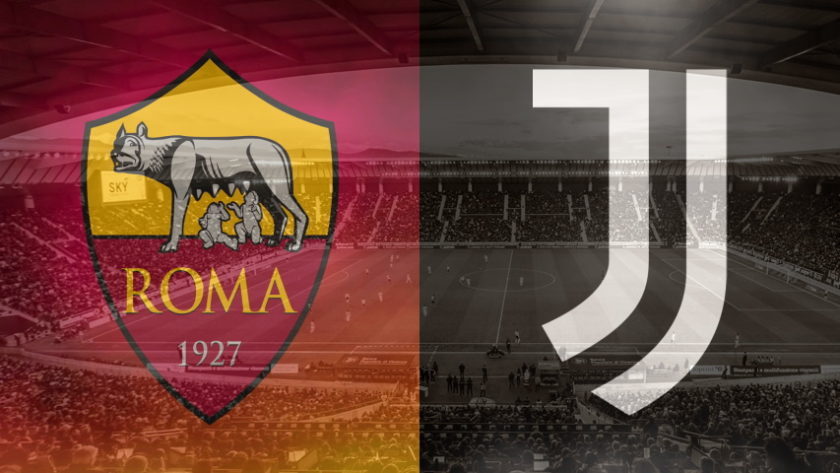 Roma and Juventus club crests ahead of their Serie A fixture on September 27