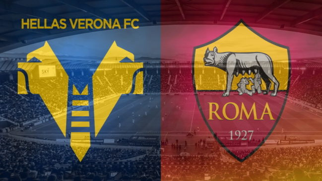 Verona and Roma club crests ahead of their Serie A fixture on September 19