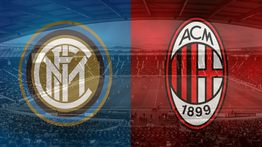 Inter and Milan club crests ahead of their Serie A fixture