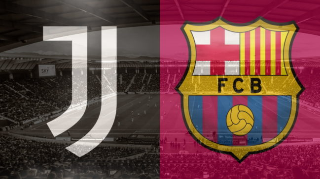 Juventus and Barcelona crests ahead of their Champions League fixture