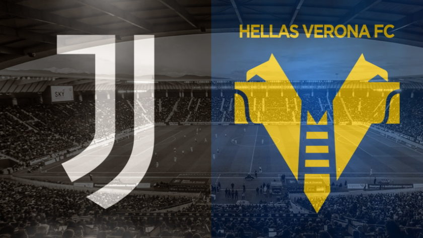 Juventus and Verona crests ahead of their Serie A fixture