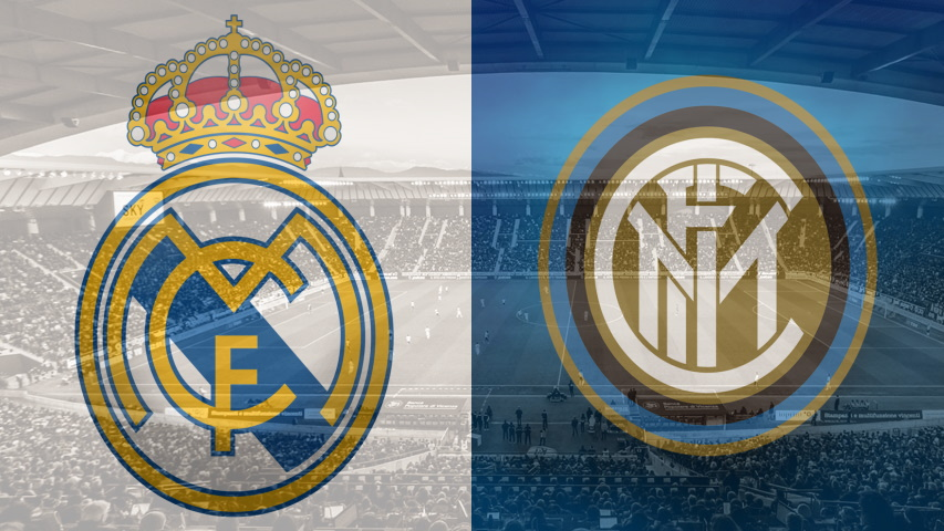 Real Madrid and Inter club crests ahead of their Champions League fixture