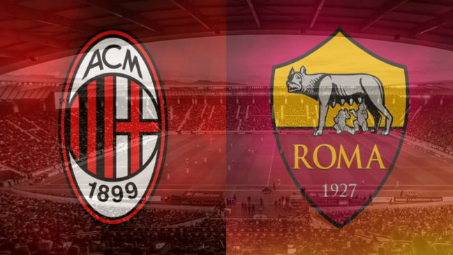 Milan and Roma crests ahead of their Serie A fixture