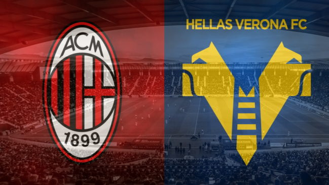 Milan and Verona club crests ahead of their Serie A fixture