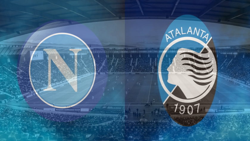 Napoli and Atalanta club crests ahead of their Serie A fixture
