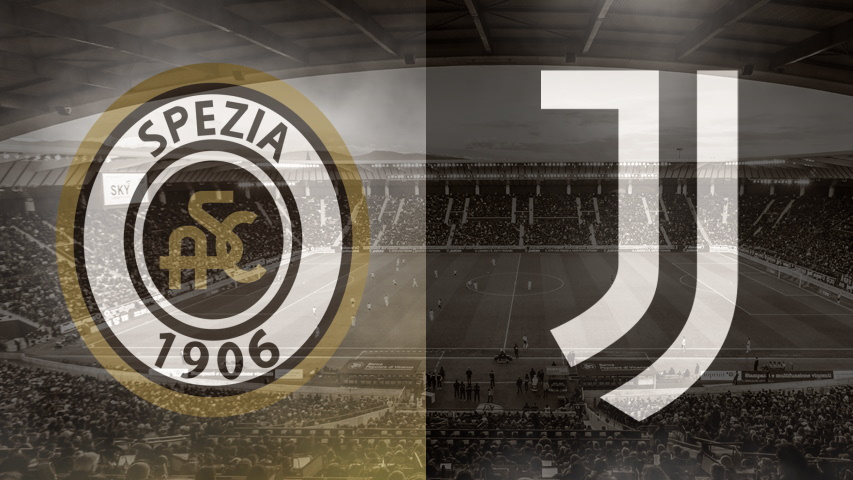 Spezia and Juventus club crests ahead of their Serie A fixture