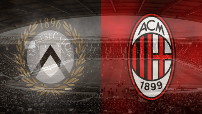 Udinese and Milan club crests ahead of their Serie A fixture
