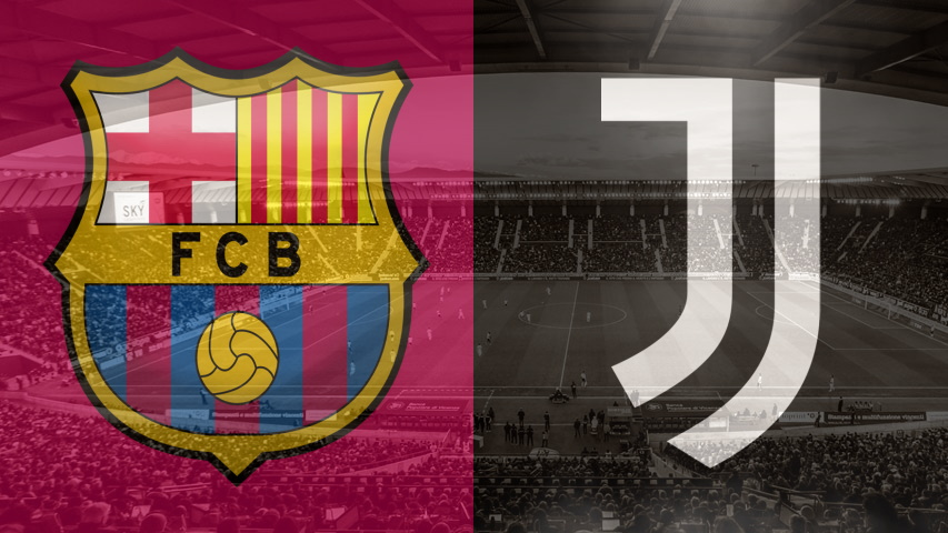 Barcelona and Juventus club crests ahead of their Champions League fixture