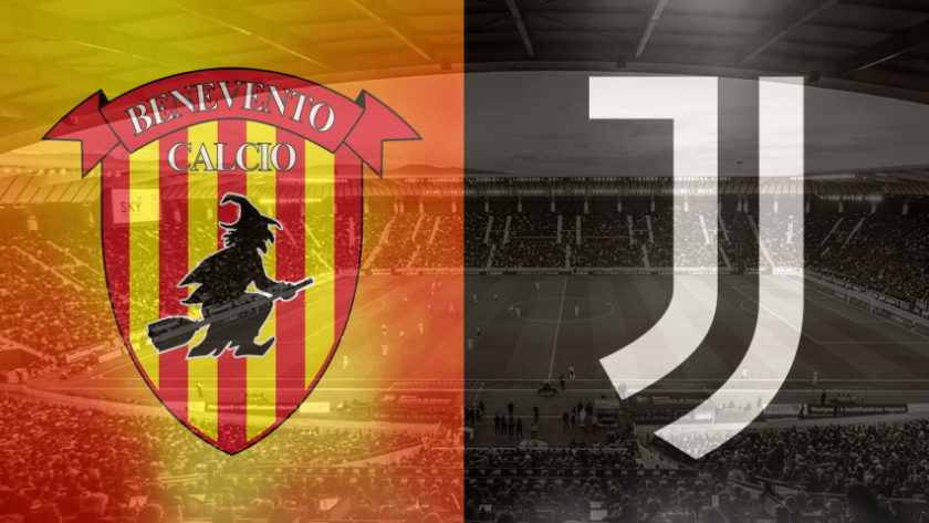 Benevento and Juventus club crests ahead of their Serie A fixture