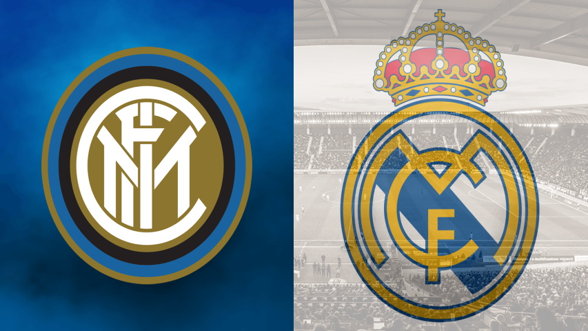 Inter and Real Madrid club crests ahead of their Champions League fixture