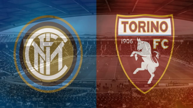 Inter and Torino club crests ahead of their Serie A fixture