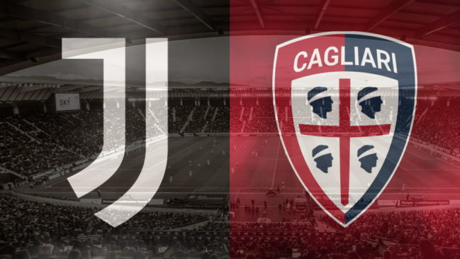 Juventus and Cagliari club crests ahead of their Serie A fixture