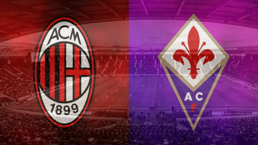 Milan and Fiorentina club crests ahead of their Serie A fixture