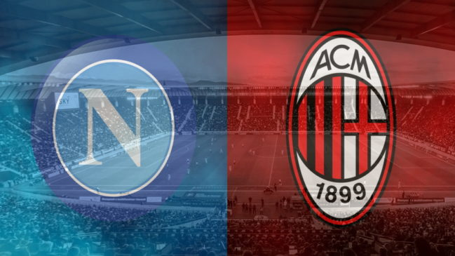 Napoli and Milan club crests ahead of their Serie A fixture