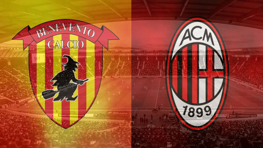 Benevento and Milan club crests