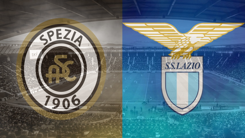 Spezia and Lazio club crests ahead of their Serie A fixture