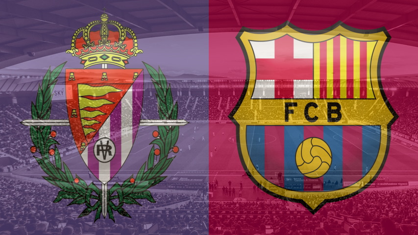Real Vallodolid and Barcelona club crests