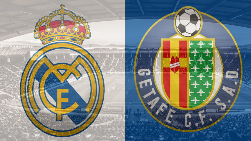 Real Madrid and Getafe club crests