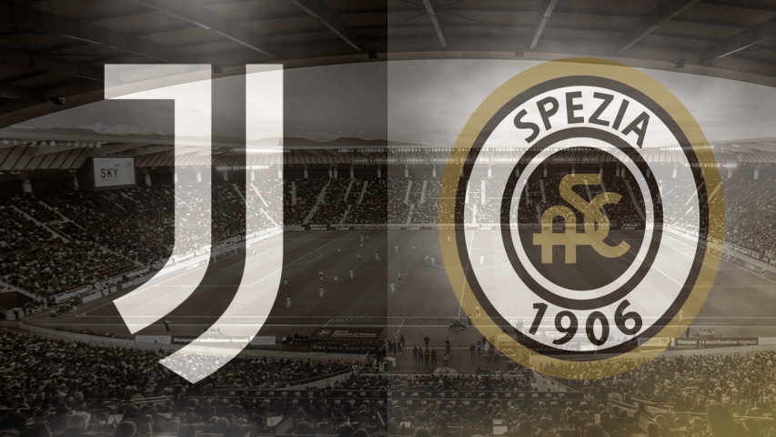 Juventus and Spezia club crests ahead of their Serie A fixture