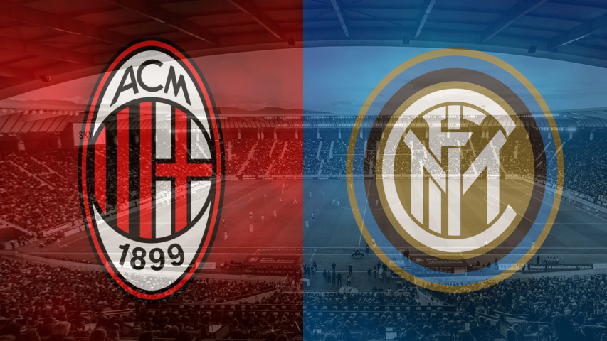 Milan and Inter club crests ahead of the derby