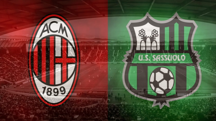 Milan vs. Sassuolo club crests
